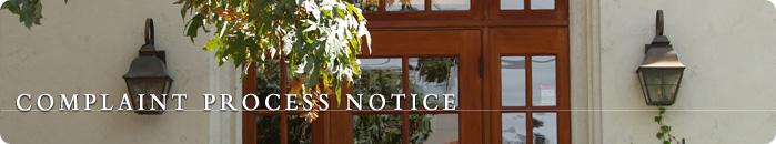 Complaint Process Notice